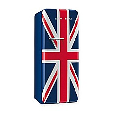 image of Smeg 9.22 cu. ft. '50s Style Right Hinge Refrigerator/Ice Compartment Top in Union Jack