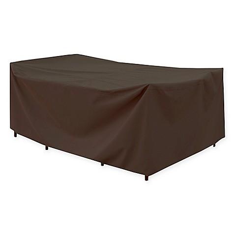 Canvas Rectangular Patio Table Cover in Dark Brown/Black - Canvas Rectangular Patio Table Cover In Dark Brown/Black - Bed Bath