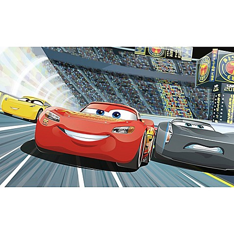 Disney pixar cars 3 peel and stick mural wall art bed bath beyond - Disney pixar cars wall mural ...