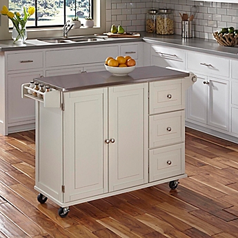 image of home styles dolly madison liberty kitchen cart with stainless steel top