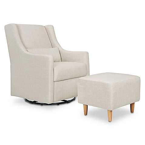 image of babyletto toco swivel glider and ottoman in white linen