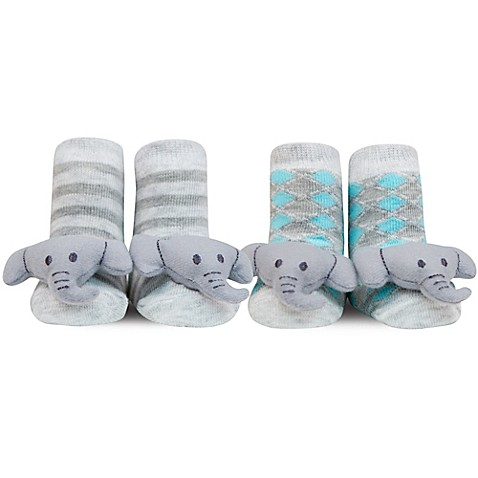 Waddle 174 2 Pack Elephant Rattle Socks In Grey Bed Bath