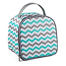 image of Fit & Fresh® 10-Piece Gabby Smart Potion Lunch Bag Set in Aqua/Grey Chevron