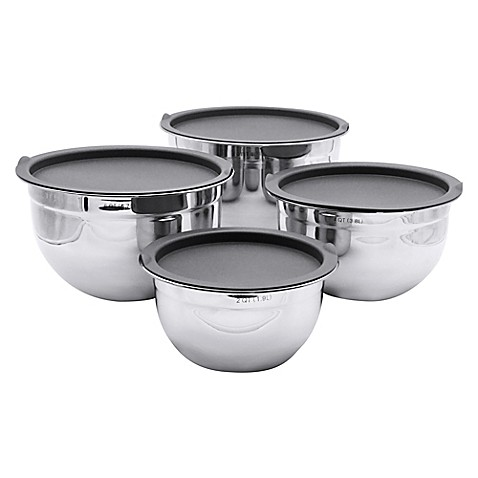 artisanal kitchen supply 4 piece stainless steel mixing bowl set bed bath beyond. Black Bedroom Furniture Sets. Home Design Ideas