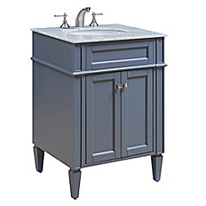 image of Park Ave 24-Inch Single Vanity in Grey with Carrara White Marble Top
