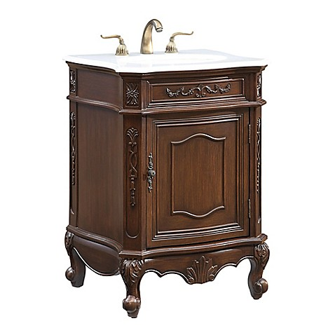 Buy Berkshire 24 Inch Single Vanity In Teak With Gaungxi White Marble Top From Bed Bath Beyond