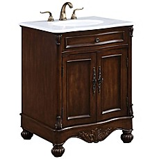 Image Of Windsor 27 Inch Single Vanity In Teak With Gaungxi White Marble Top