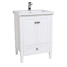 image of Aqua 24-Inch Single Vanity in White with Porcelain Sink Top
