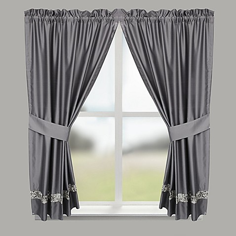 Buy Croscill Spa Tile Bathroom 45 Inch Window Curtain Panel Pair In Grey From Bed Bath Beyond