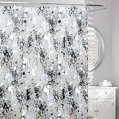Storm Frosted Shower Curtain In Black White Bed Bath Beyond