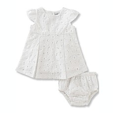 image of Absorba® 2-Piece Short Sleeve Eyelet Dress and Diaper Cover Set in White