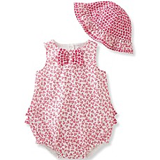 image of Absorba® 2-Piece Bow Tie Floral Bubble Romper and Hat Set in Hot Pink