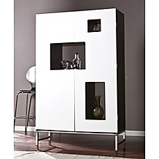 Southern Enterprises Shadow Box Wine/Bar Cabinet In Black/White