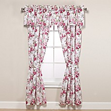 image of Laura Ashley® Lidia 84-Inch Rod Pocket Window Curtain Panel Pair in Pink