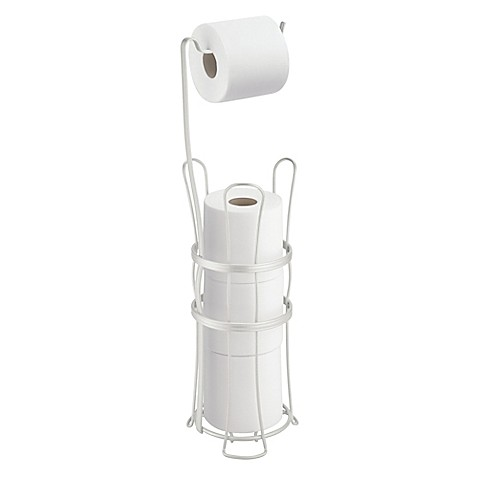 Interdesign 3 roll standing toilet paper holder plus in pearl white bed bath beyond - Interdesign toilet paper holder ...