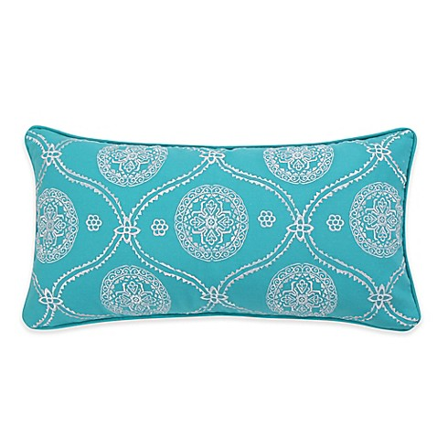 Levtex Home Madalyn Embroidered Oblong Throw Pillow in Teal - Bed Bath & Beyond