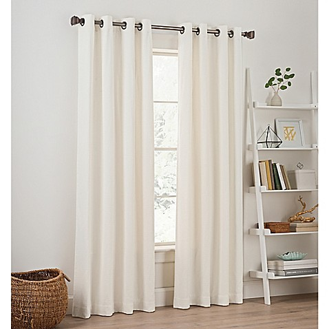 buy priella 108 inch grommet top window curtain panel in white from bed bath beyond. Black Bedroom Furniture Sets. Home Design Ideas