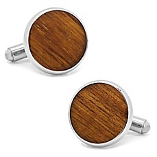 image of Ox & Bull Trading Co. Stainless Steel Wood Cufflinks