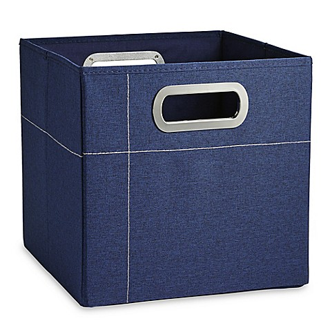 Jj cole 11 inch storage box in in navy bed bath beyond for Navy bathroom bin