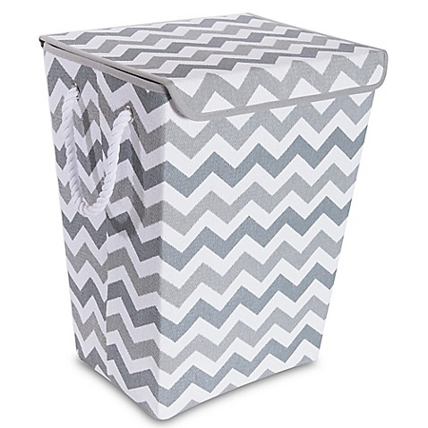 Taylor Madison Designs 174 Chase Chevron Hamper In Grey White