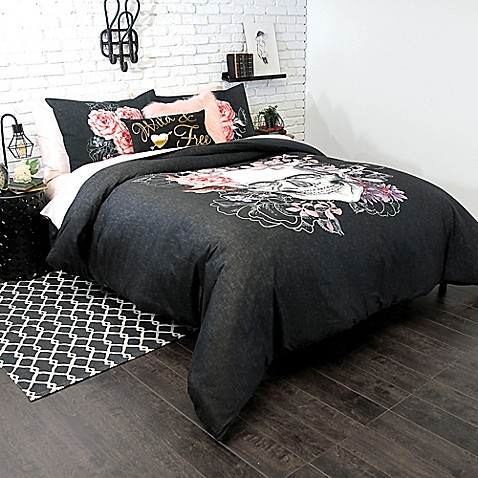 image of sugar skull mini duvet cover set