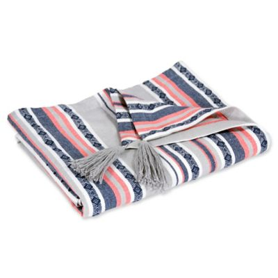 image of Hang Ten Pismo Beach Classic Baha Stripe Throw Blanket in Grey