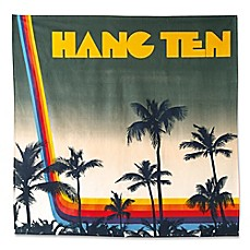 image of Hang Ten Ombre Hibiscus Sunset Stripe Tapestry in Blue