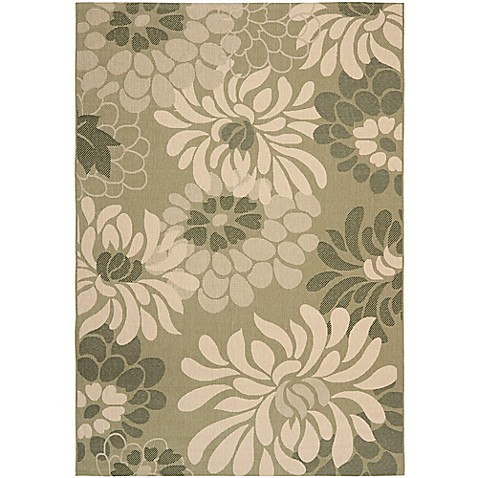 Safavieh courtyard 6 foot 7 inch x 9 foot 6 inch indoor for Green and cream rugs