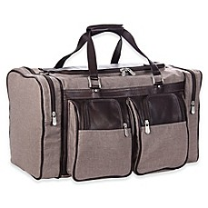 Image Of PielR Leather Duffle Bag With Pockets In Chocolate