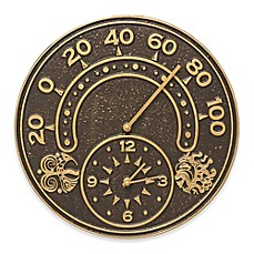 image of Whitehall Products Sun and Wind Indoor/Outdoor Wall Clock and Thermometer in Bronze/Gold