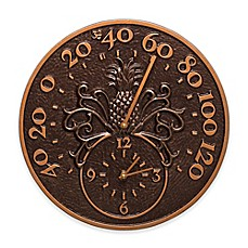 image of Whitehall Products Pineapple Indoor/Outdoor Wall Clock and Thermometer in Antique Copper