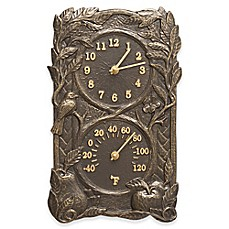 image of Whitehall Products Bird Indoor/Outdoor Wall Clock and Thermometer in French Bronze