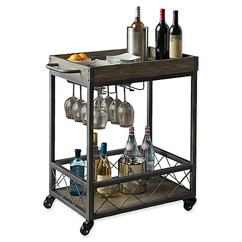 Image Of Modern Farmhouse Industrial Bar Cart In Grey