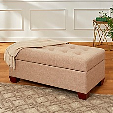 image of Tufted Lid 40-Inch Storage Bench with Walnut Feet in Almond