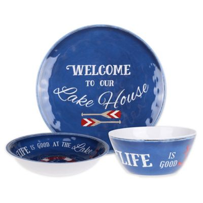 image of Welcome to Our Lake House Textured Dinnerware Collection
