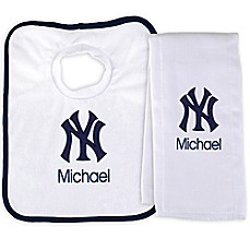 image of Designs by Chad and Jake MLB New York Yankees Bib and Burp 2-Piece Set