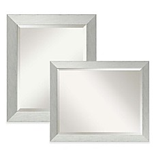 image of amanti medium wall mirror in brushed sterling silver