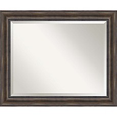 image of 34inch x 28inch rustic pine bathroom mirror in brown