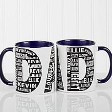image of Repeating Name for Him 11 oz. Coffee Mug in Blue