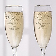 Image Of Anniversary Toast Champagne Flutes Set 2