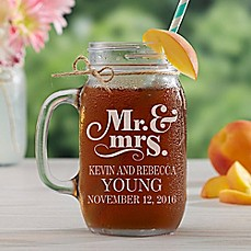 image of The Happy Couple Glass Mason Jar
