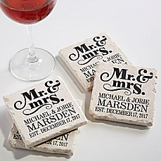 image of The Happy Couple Tumbled Stone Coasters (Set of 4)