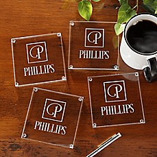 image of Square Monogram Glass Coasters (Set of 4)