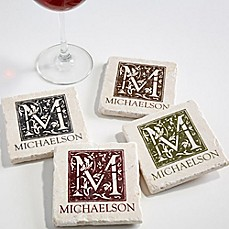 image of Floral Monogram Tumbled Stone Coasters (Set of 4)