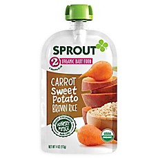 image of Sprout® 4-Ounce Stage 2 Organic Baby Food in Carrot, Sweet Potato and Brown Rice