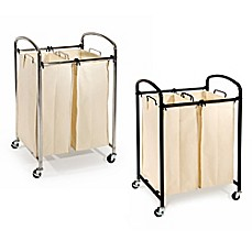 image of Seville Classics 2-Bag Laundry Sorter Hamper Cart