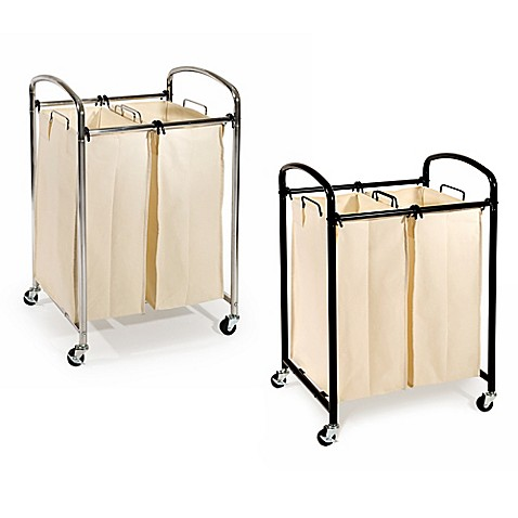 Seville Classics 2 Bag Laundry Sorter Hamper Cart Bed