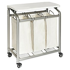 image of Seville Classics 3-Bag Laundry Sorter Hamper Cart with Folding Table in Natural