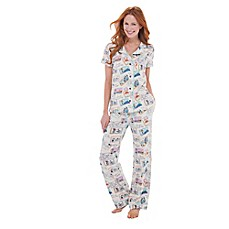 image of Postcards from Abroad 2-Piece Short Sleeve and Pant Pajama Set