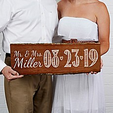 image of Our Wedding Date Basswood Plank Sign